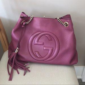 Soho Medium Purple Leather Chain Shoulder Tote